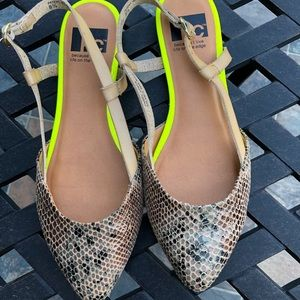 Slingback sandals in EUC, snake skin, neon yellow